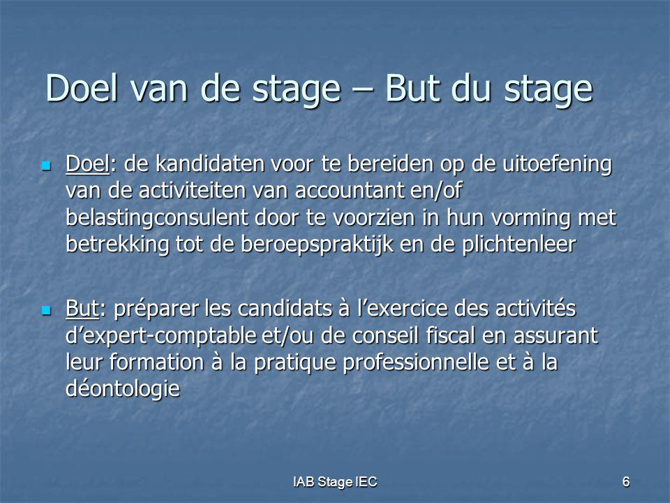 Doel van de stage – But du stage