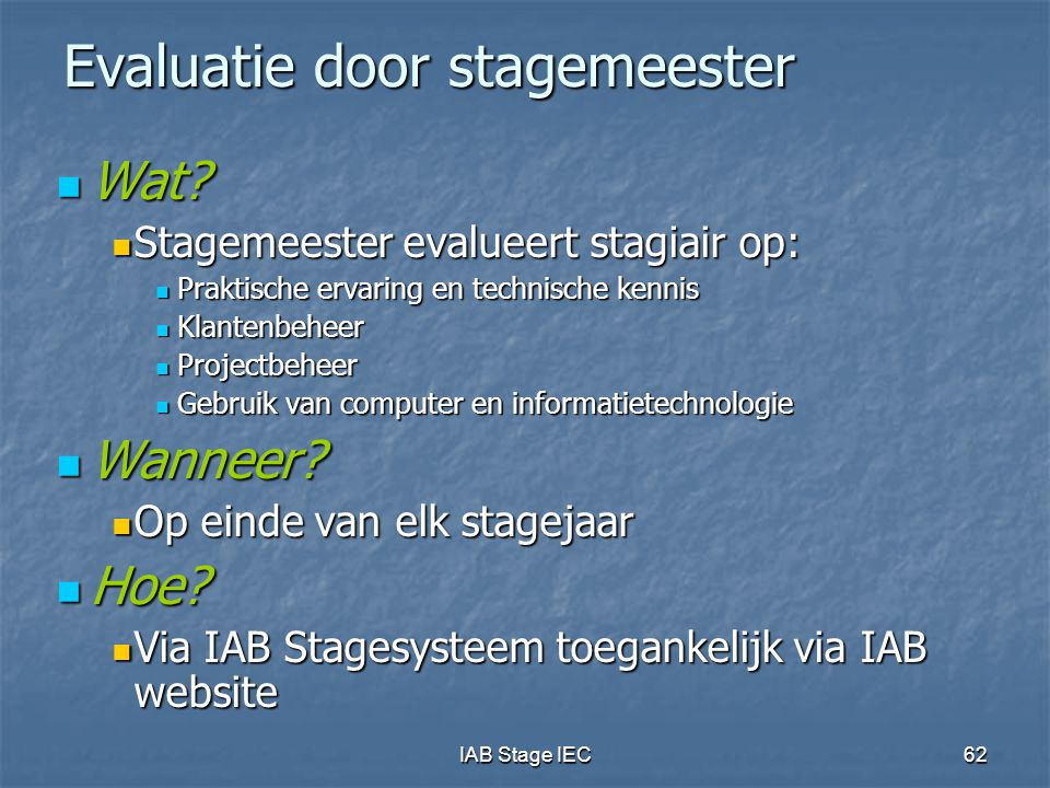 Evaluatie door stagemeester