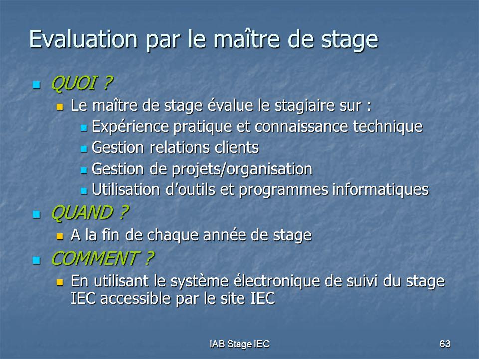 Evaluation par le maître de stage