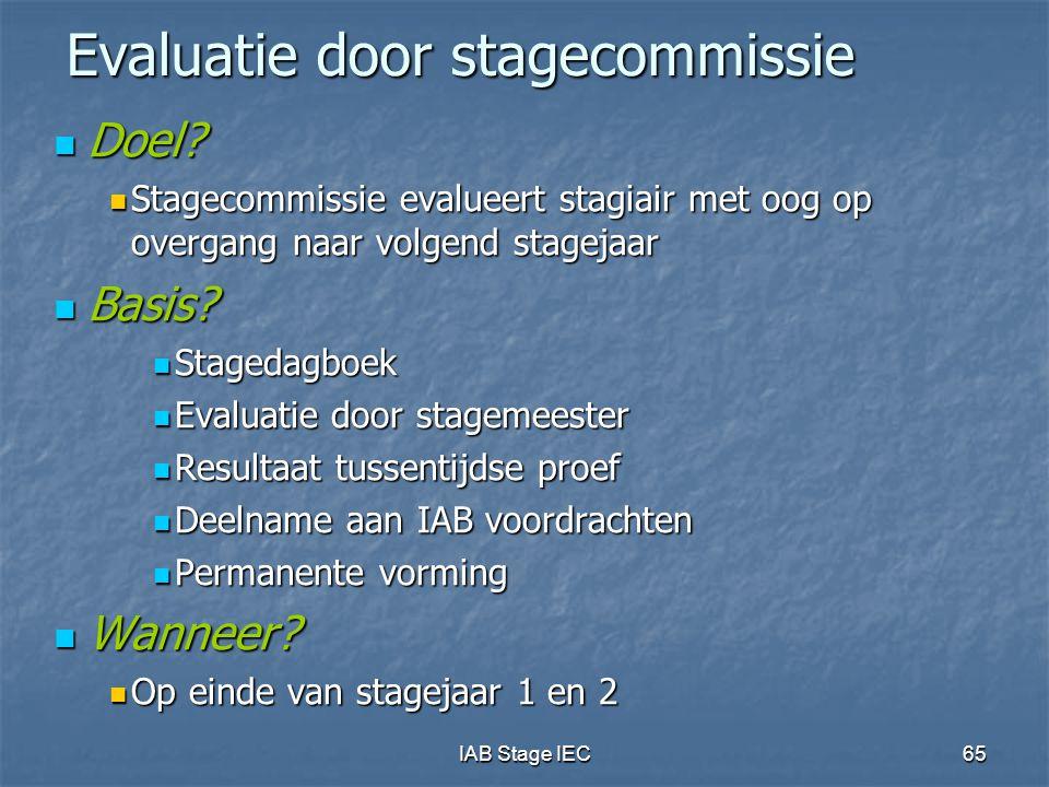 Evaluatie door stagecommissie