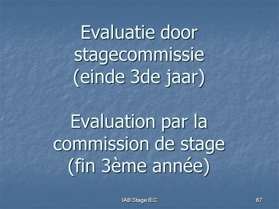 Evaluatie door stagecommissie (einde 3de jaar) Evaluation par la commission de stage (fin 3ème année)