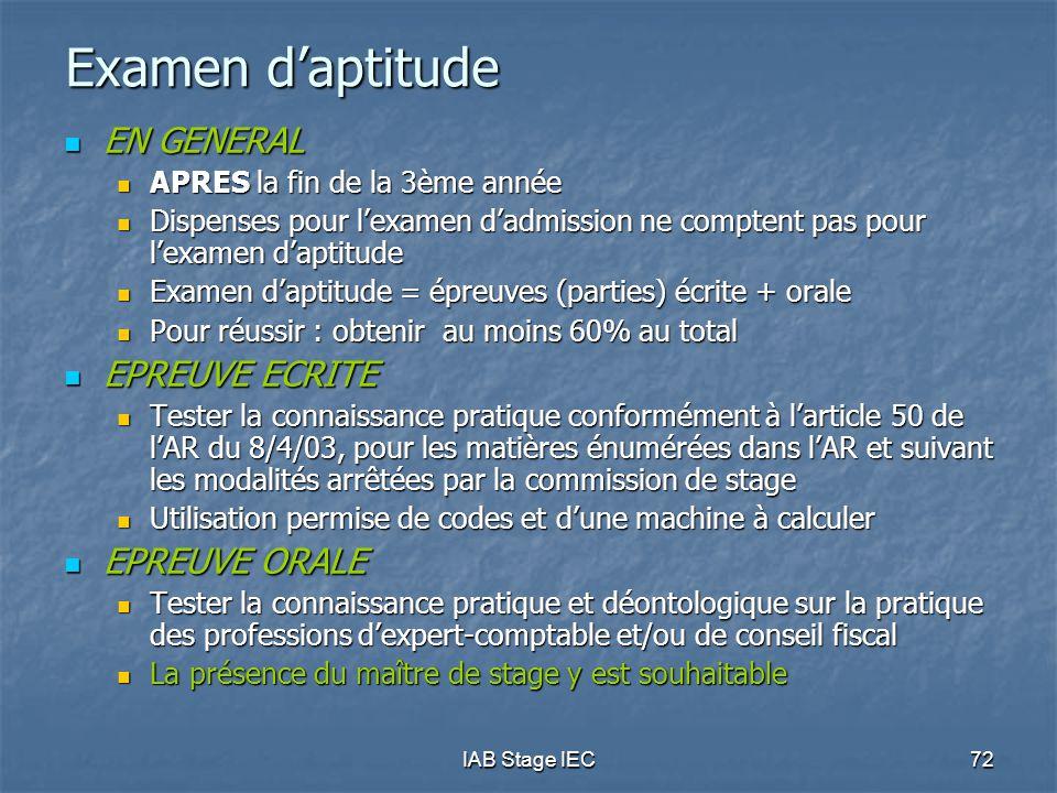 Examen d'aptitude EN GENERAL EPREUVE ECRITE EPREUVE ORALE