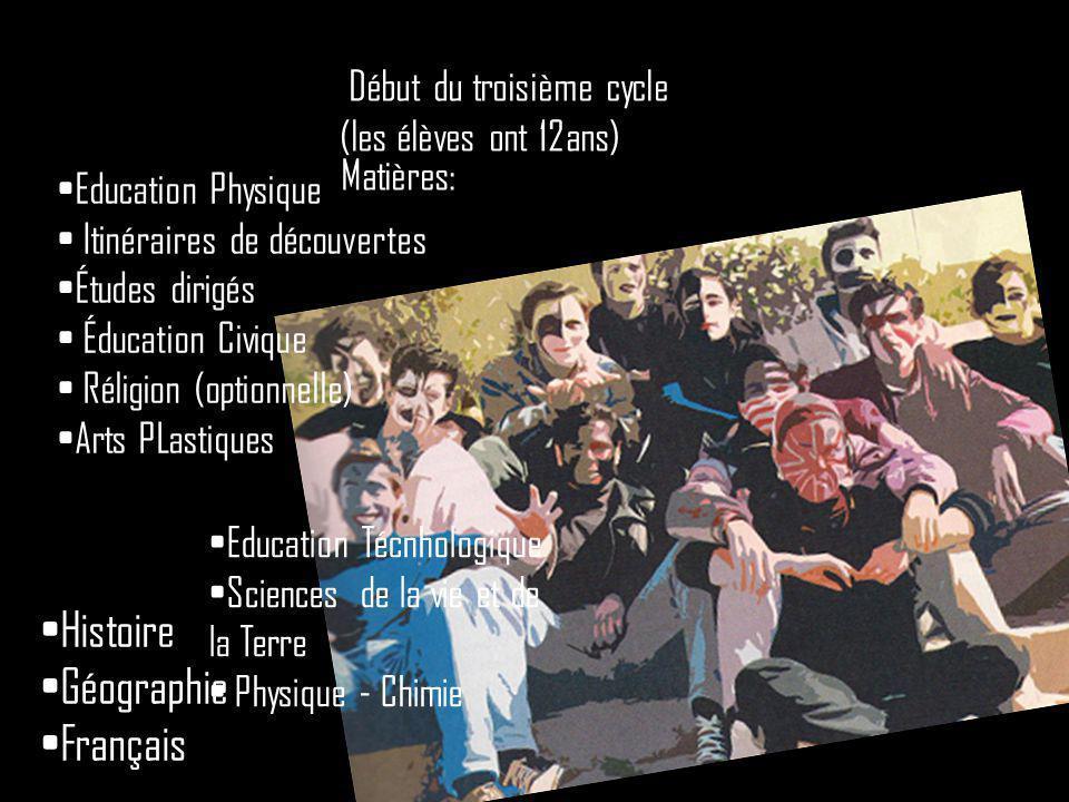 Histoire Géographie Français Début du troisième cycle