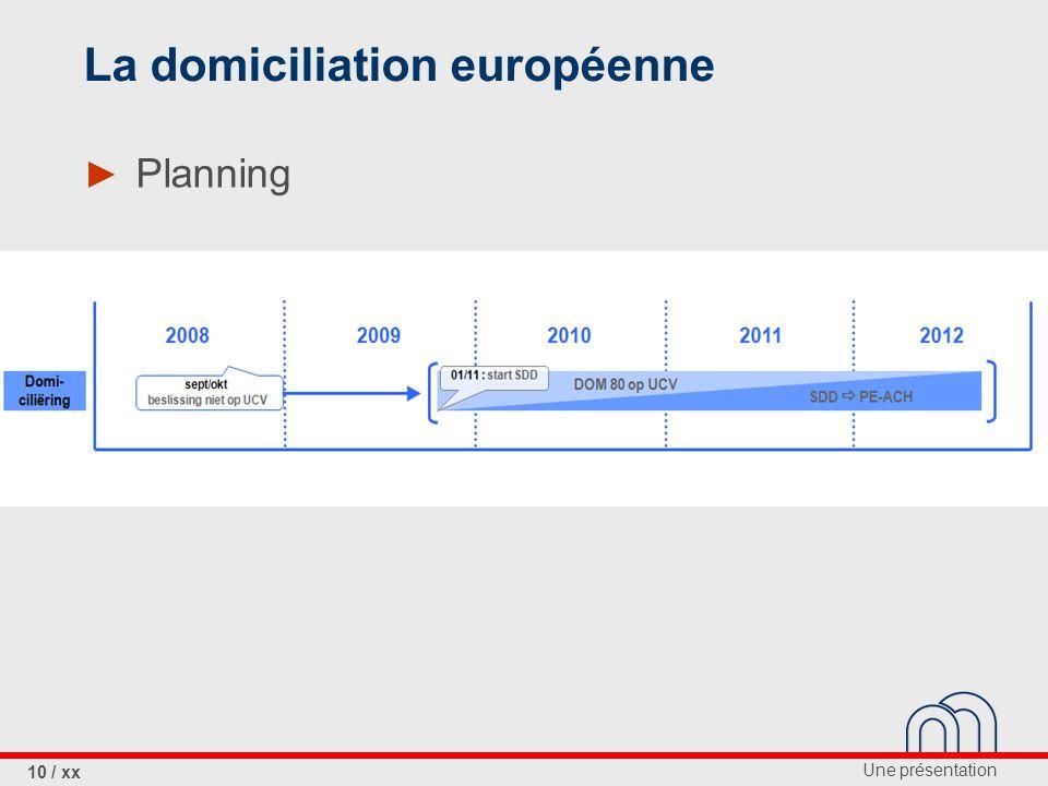 La domiciliation européenne