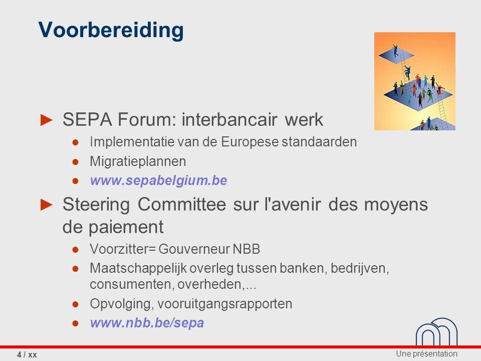 Voorbereiding SEPA Forum: interbancair werk
