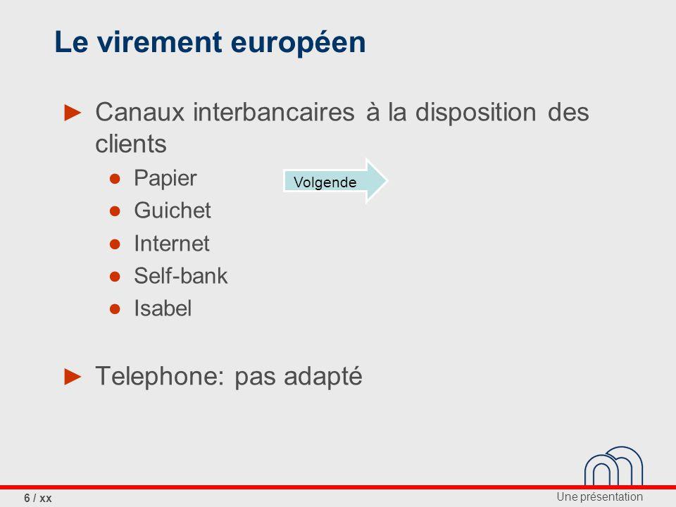 Le virement européen Canaux interbancaires à la disposition des clients. Papier. Guichet. Internet.