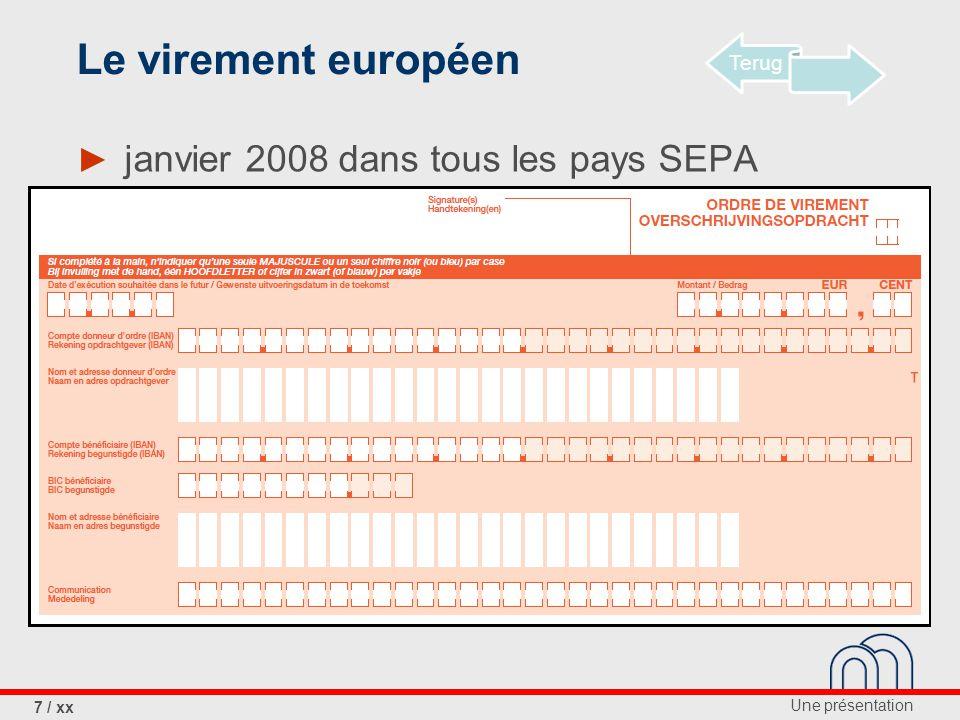 Le virement européen janvier 2008 dans tous les pays SEPA