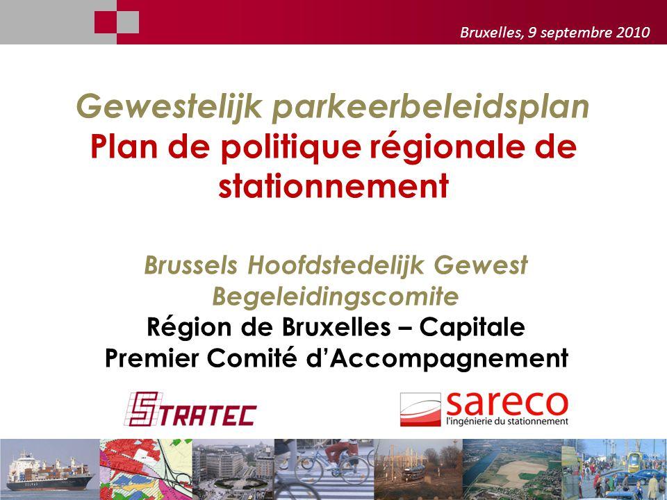 - Bruxelles, 9 septembre 2010. Gewestelijk parkeerbeleidsplan Plan de politique régionale de stationnement.