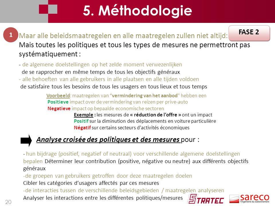 5. Méthodologie FASE 2. 1. Maar alle beleidsmaatregelen en alle maatregelen zullen niet altijd: