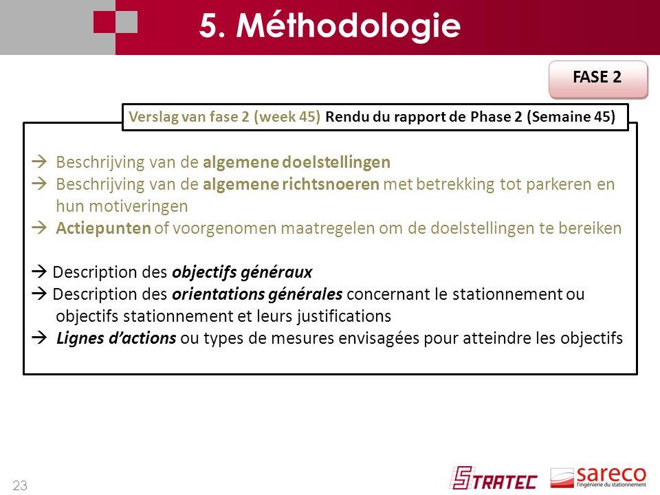 5. Méthodologie FASE 2 Beschrijving van de algemene doelstellingen