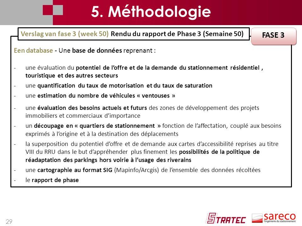 5. Méthodologie Verslag van fase 3 (week 50) Rendu du rapport de Phase 3 (Semaine 50) FASE 3. Een database - Une base de données reprenant :