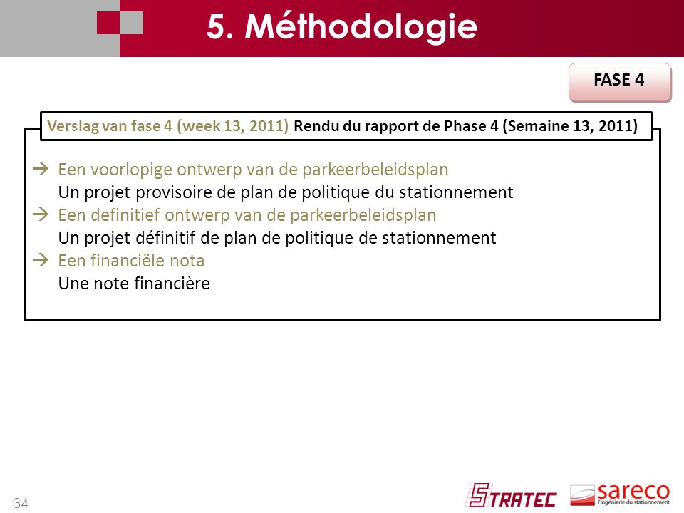 5. Méthodologie FASE 4. Verslag van fase 4 (week 13, 2011) Rendu du rapport de Phase 4 (Semaine 13, 2011)