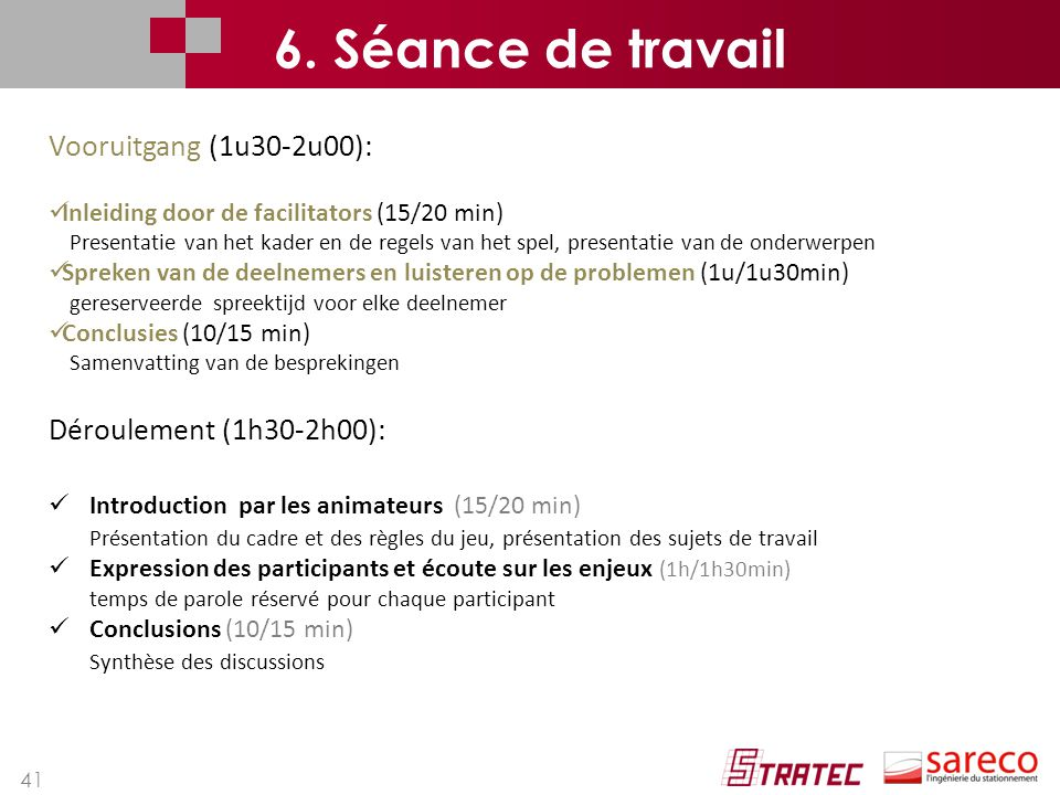 6. Séance de travail Vooruitgang (1u30-2u00): Déroulement (1h30-2h00):