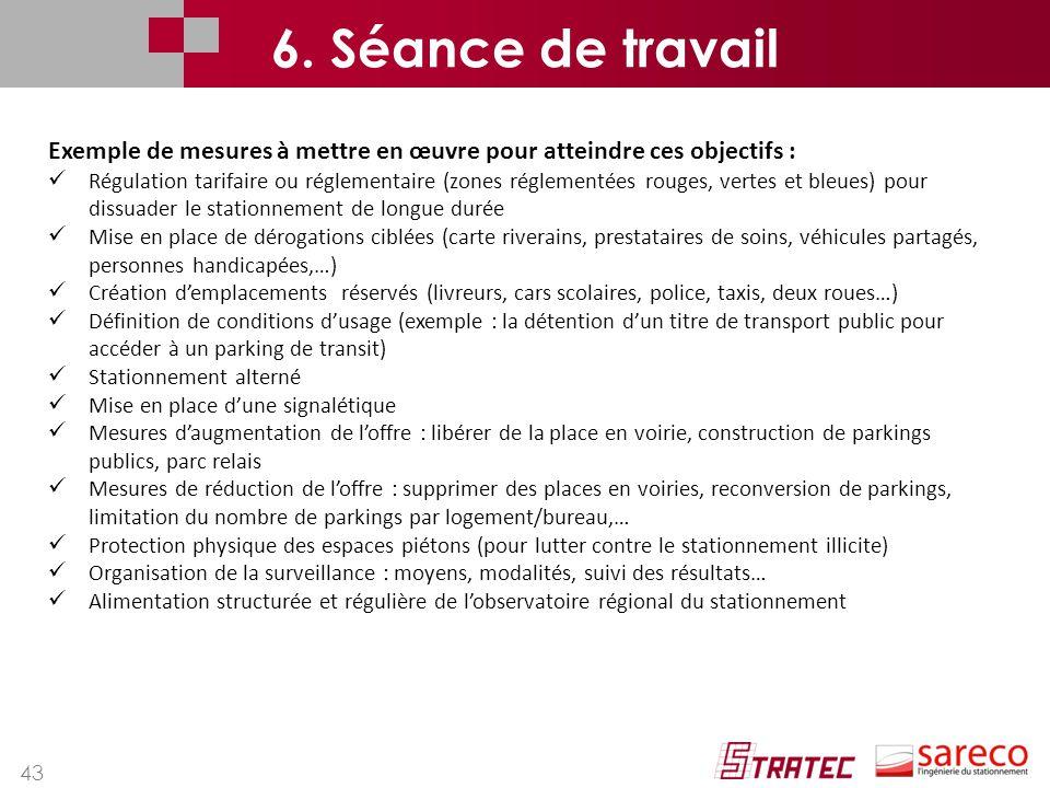 6. Séance de travail Exemple de mesures à mettre en œuvre pour atteindre ces objectifs :