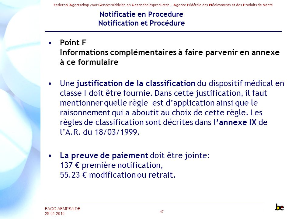 Notificatie en Procedure Notification et Procédure