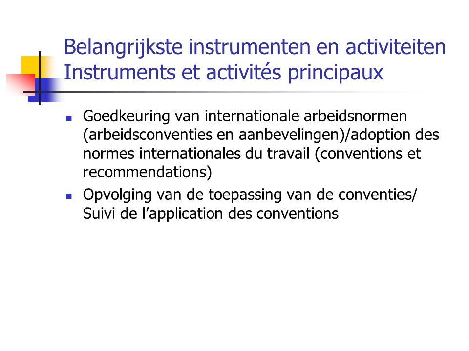 Belangrijkste instrumenten en activiteiten Instruments et activités principaux