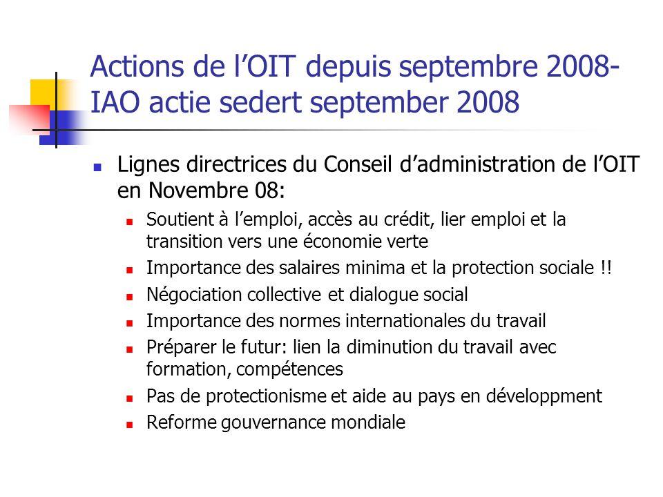 Actions de l'OIT depuis septembre 2008-IAO actie sedert september 2008