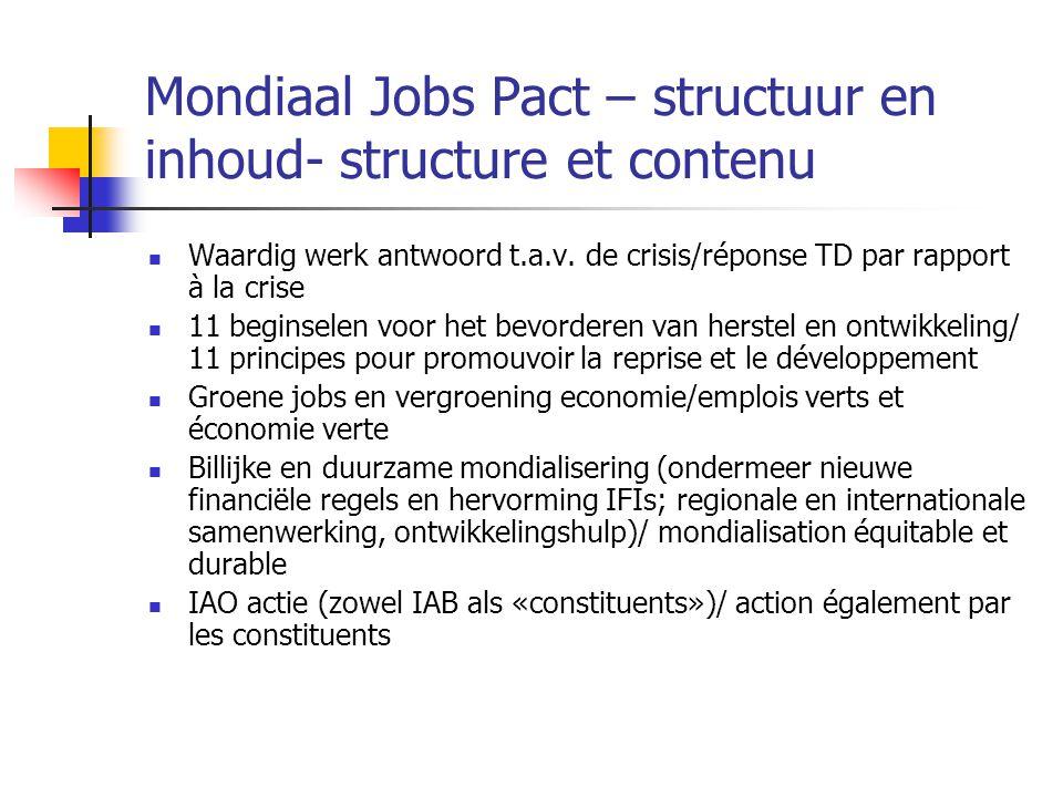 Mondiaal Jobs Pact – structuur en inhoud- structure et contenu