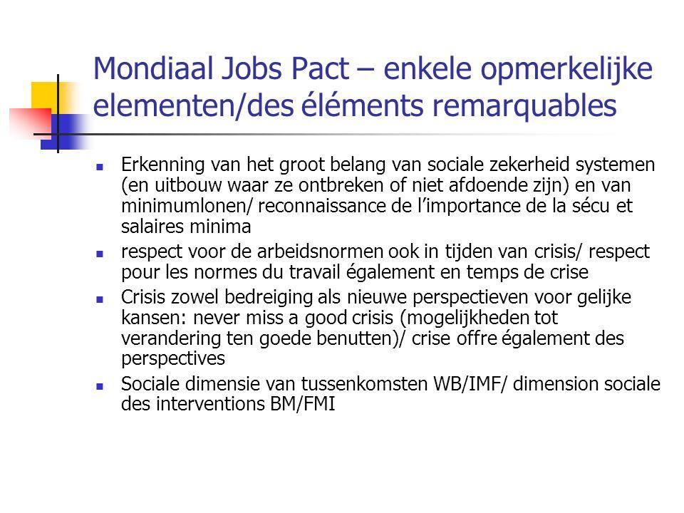 Mondiaal Jobs Pact – enkele opmerkelijke elementen/des éléments remarquables