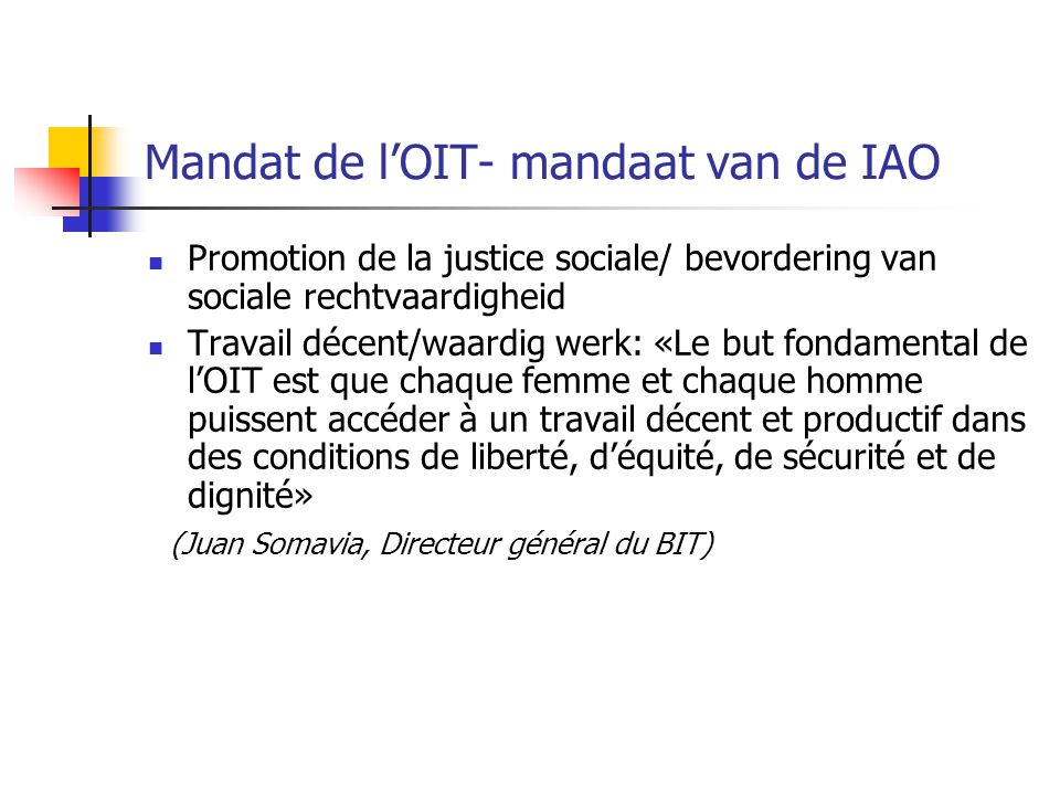 Mandat de l'OIT- mandaat van de IAO
