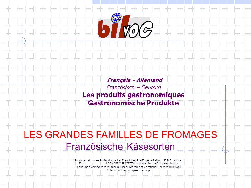 LES GRANDES FAMILLES DE FROMAGES Französische Käsesorten