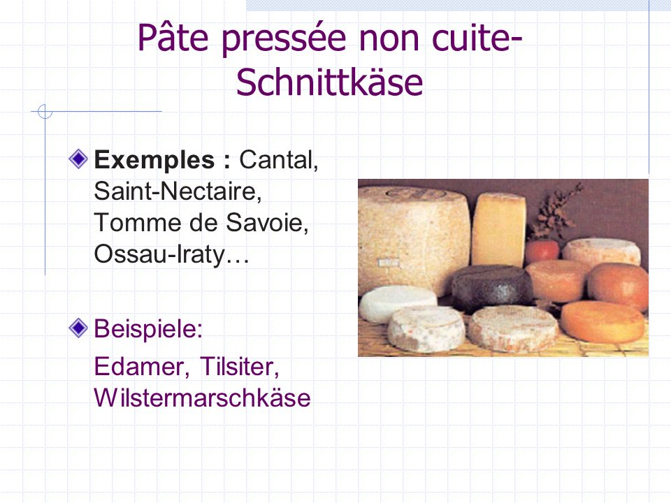 Pâte pressée non cuite- Schnittkäse