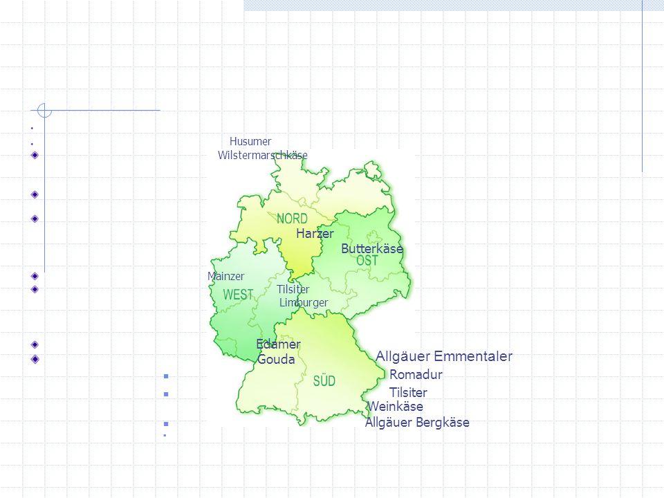 Allgäuer Emmentaler Harzer Butterkäse Gouda Romadur Tilsiter Weinkäse