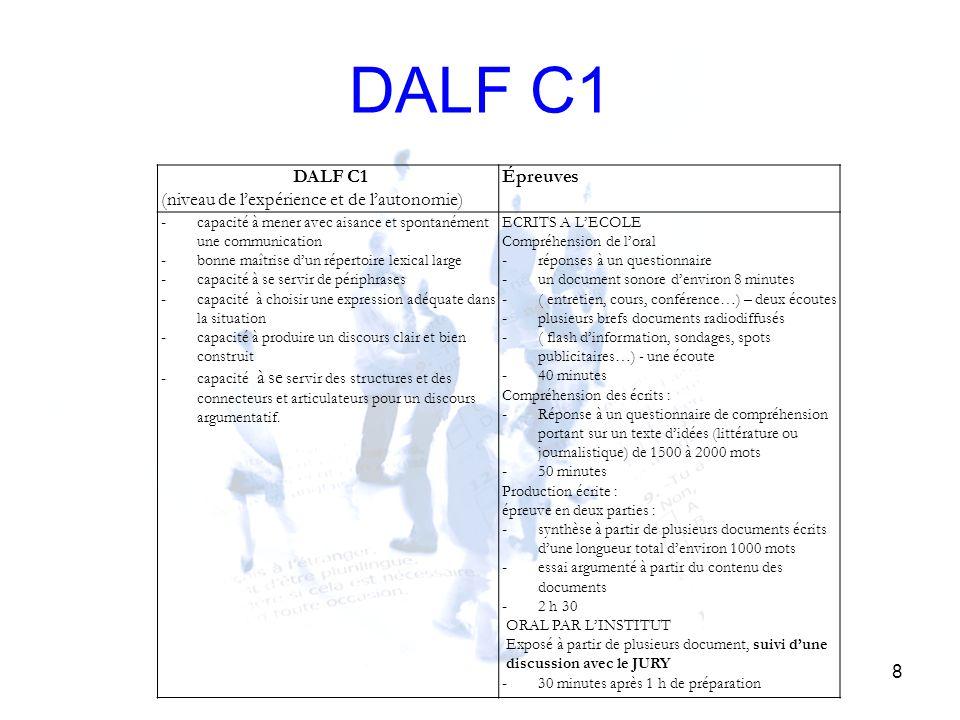 DALF C1 DALF C1 (niveau de l'expérience et de l'autonomie) Épreuves