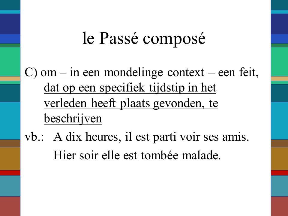 le Passé composé C) om – in een mondelinge context – een feit, dat op een specifiek tijdstip in het verleden heeft plaats gevonden, te beschrijven.