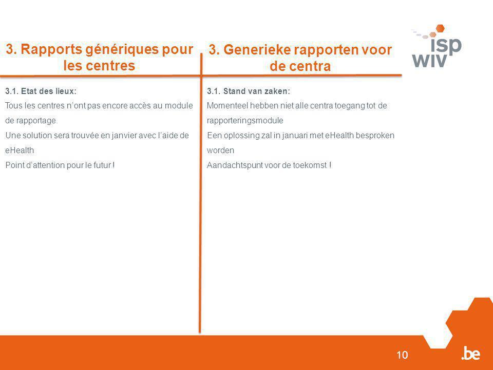 3. Rapports génériques pour les centres