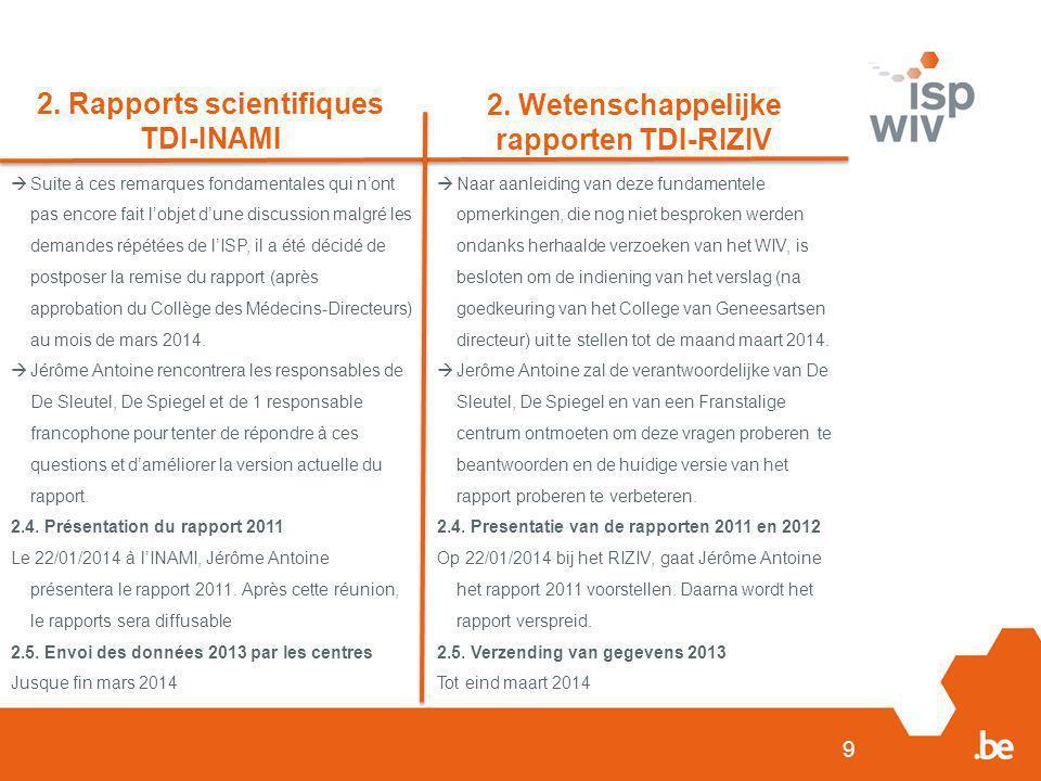 2. Rapports scientifiques TDI-INAMI