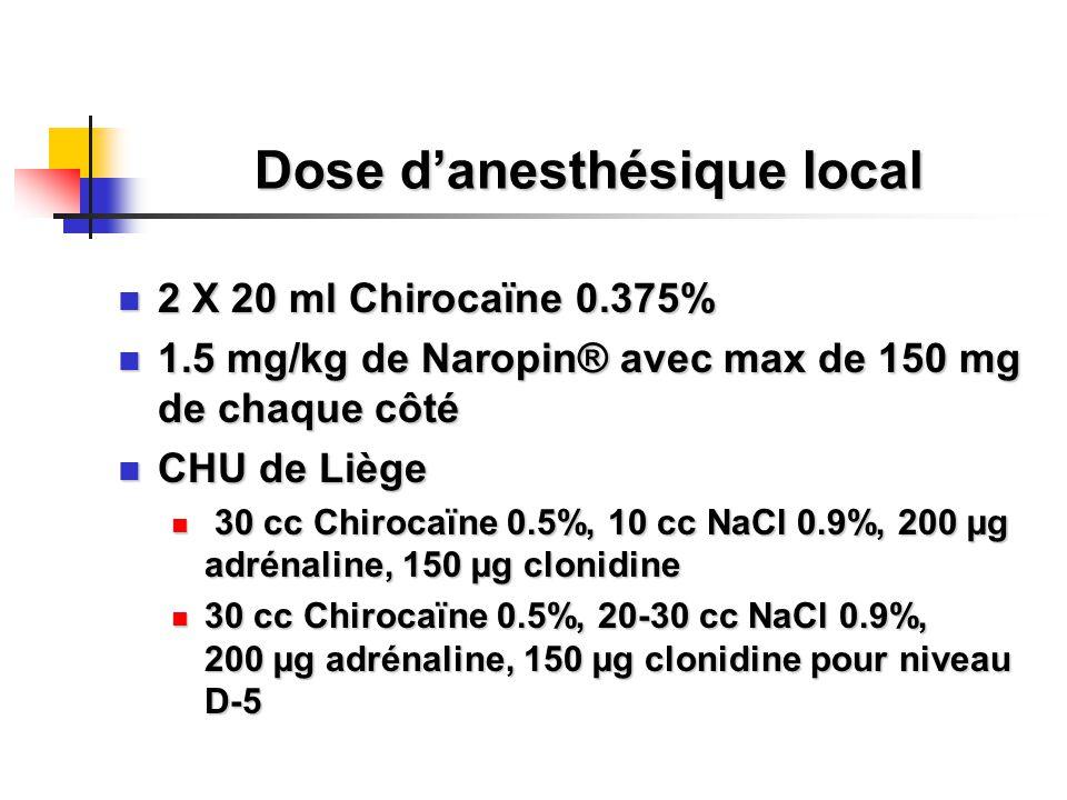 Dose d'anesthésique local