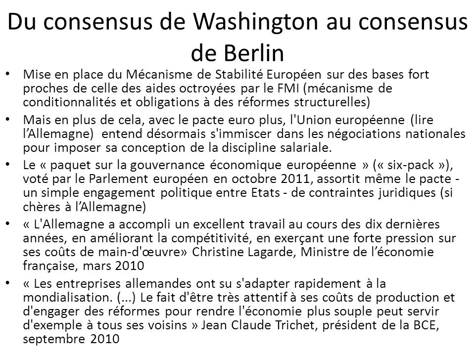Du consensus de Washington au consensus de Berlin