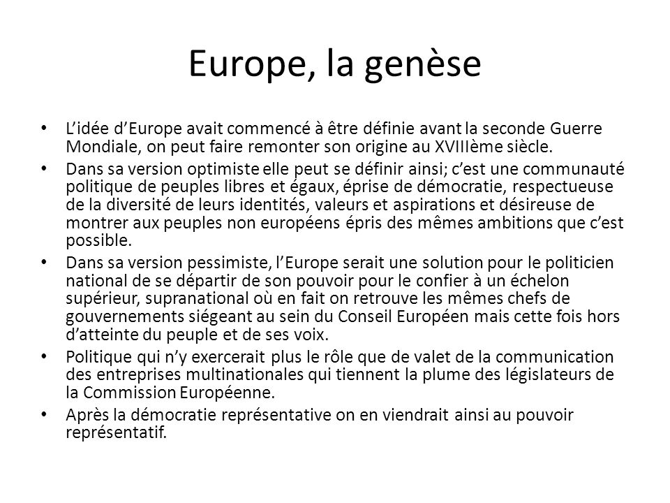 Europe, la genèse