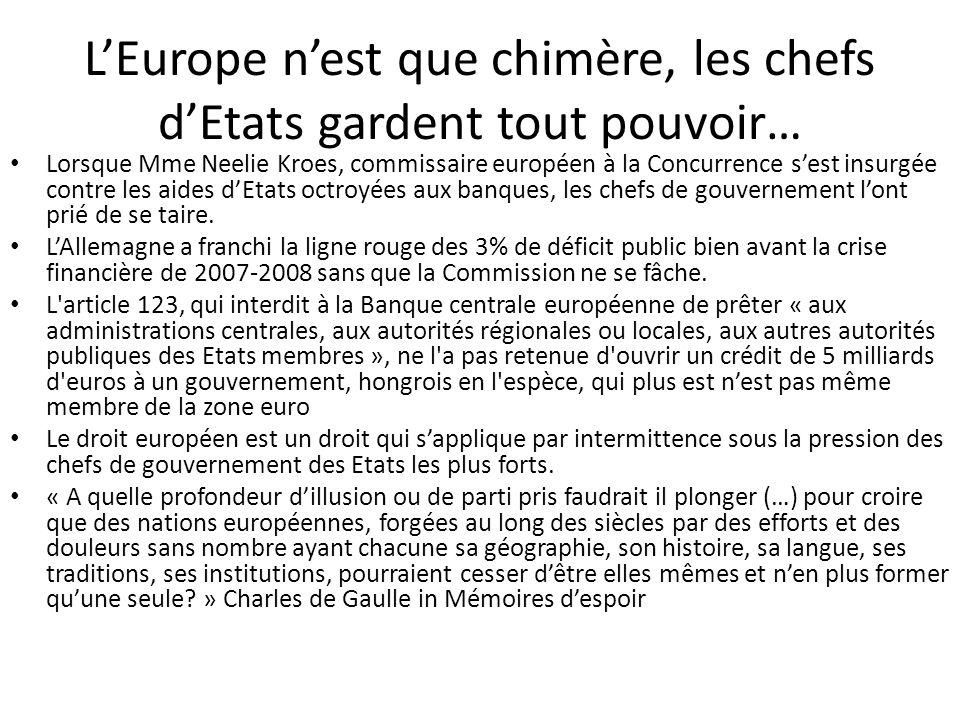 L'Europe n'est que chimère, les chefs d'Etats gardent tout pouvoir…