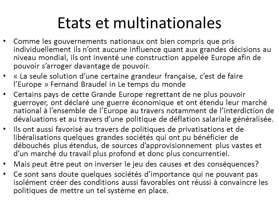 Etats et multinationales