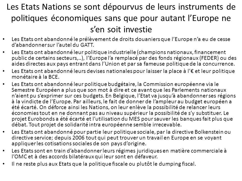 Les Etats Nations se sont dépourvus de leurs instruments de politiques économiques sans que pour autant l'Europe ne s'en soit investie