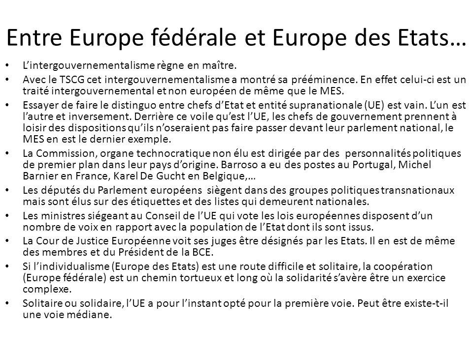 Entre Europe fédérale et Europe des Etats…