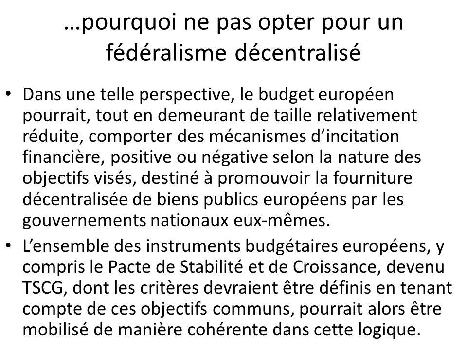 …pourquoi ne pas opter pour un fédéralisme décentralisé