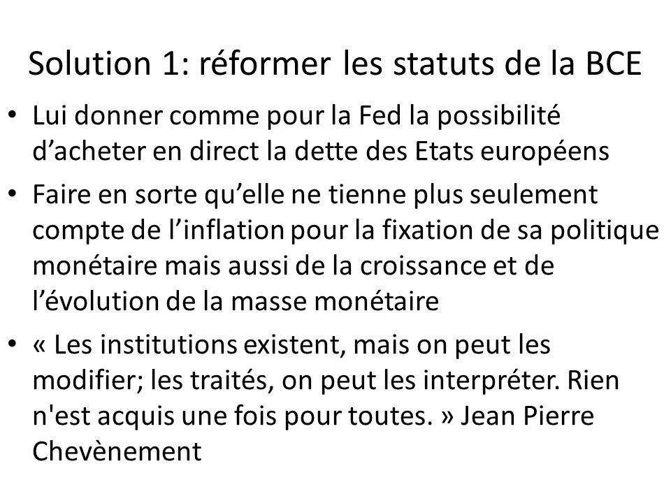 Solution 1: réformer les statuts de la BCE