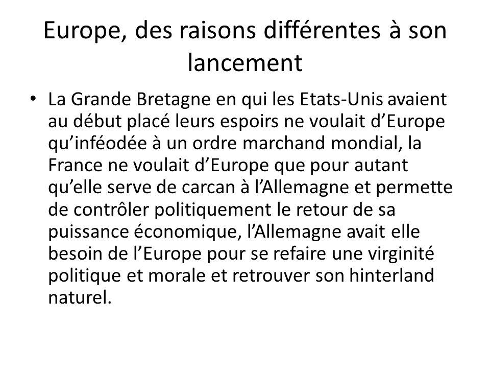 Europe, des raisons différentes à son lancement