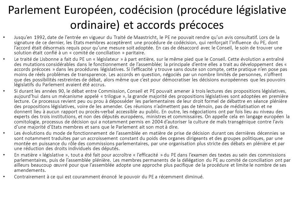 Parlement Européen, codécision (procédure législative ordinaire) et accords précoces