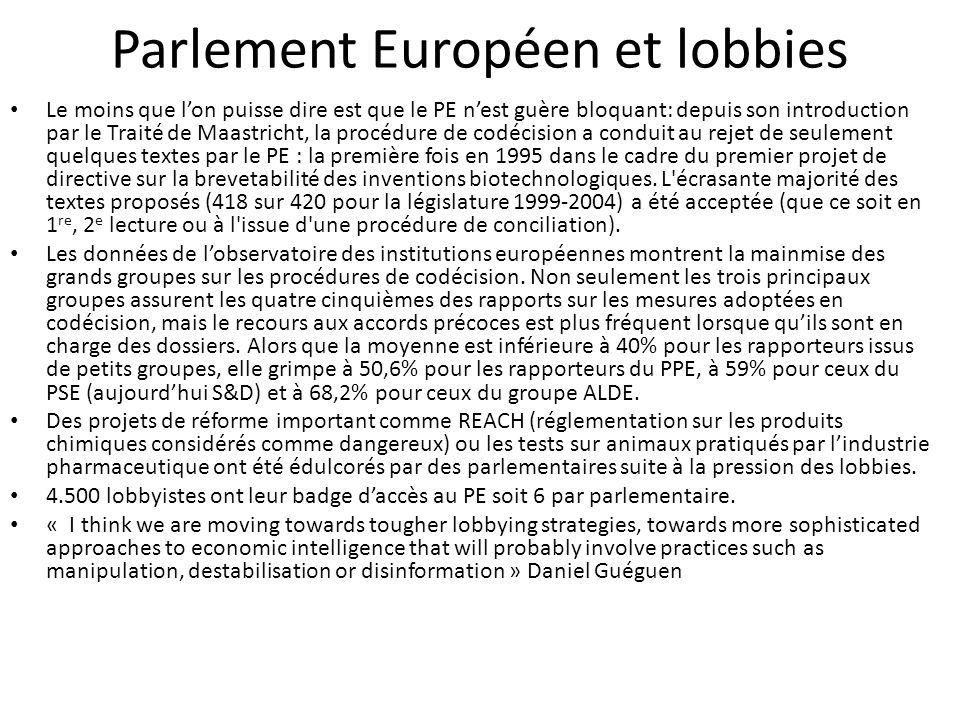Parlement Européen et lobbies