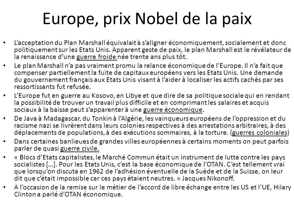 Europe, prix Nobel de la paix