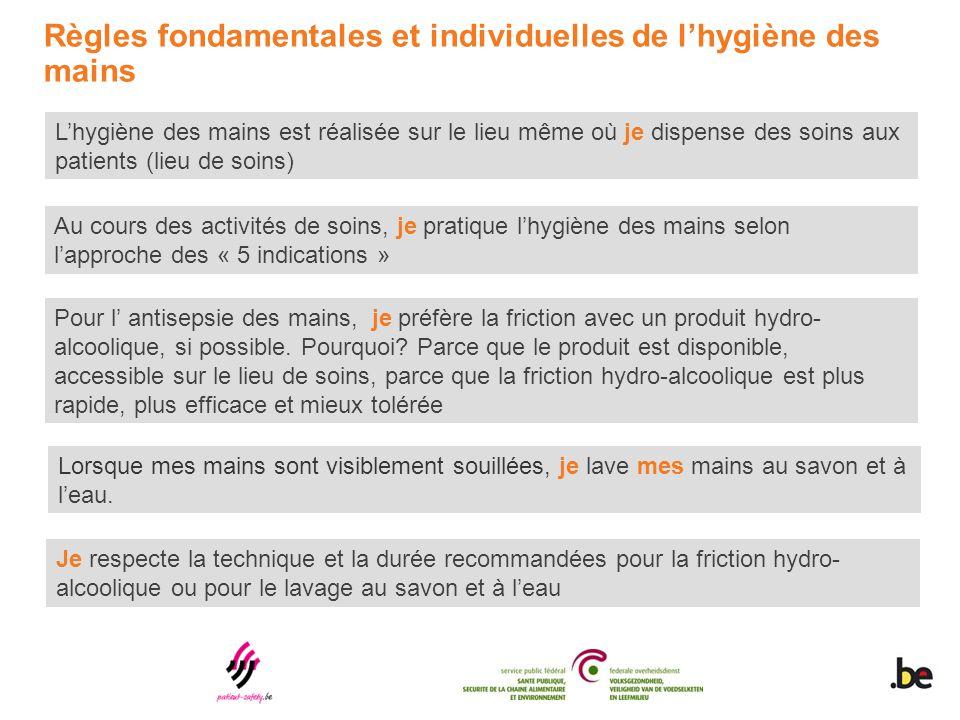 Règles fondamentales et individuelles de l'hygiène des mains