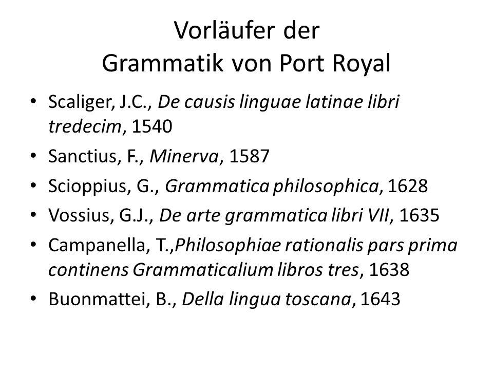 Vorläufer der Grammatik von Port Royal