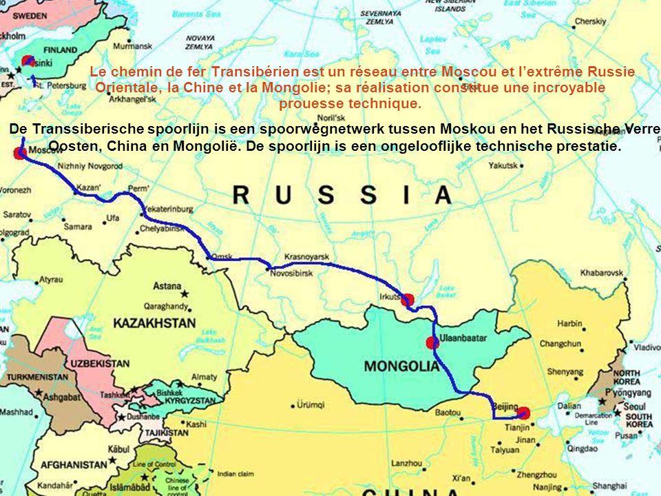 Le chemin de fer Transibérien est un réseau entre Moscou et l'extrême Russie Orientale, la Chine et la Mongolie; sa réalisation constitue une incroyable prouesse technique.
