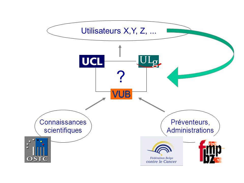 Utilisateurs X,Y, Z, ... Connaissances scientifiques Préventeurs,
