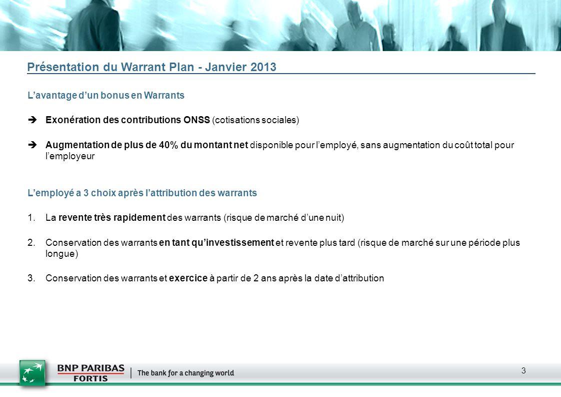 Présentation du Warrant Plan - Janvier 2013