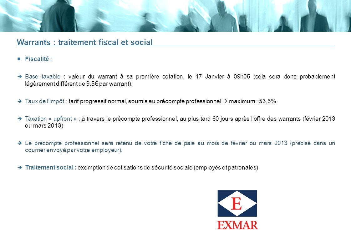 Warrants : traitement fiscal et social